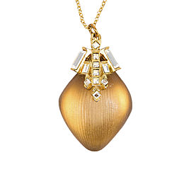 Alexis Bittar Gold Tone & Taupe Swarovski Crystal & Lucite Pendant Necklace
