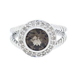 David Yurman 925 Sterling Silver 2.25ct Smoky Quartz & .21ct Diamond Ring Size 7