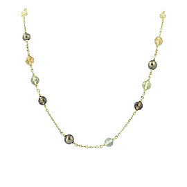 Judith Ripka 18K Yellow Gold Diamonds 0.36ctw Multi-Gemstone & Cultured Pearl Necklace