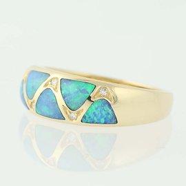 Kabana 14K Yellow Gold Opal, Diamond Ring Size 7