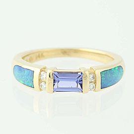 Kabana 14K Yellow Gold Tanzanite, Opal, Diamond Ring Size 7