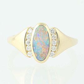 Kabana 14K Yellow Gold Opal, Diamond Ring Size 6