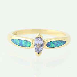 Kabana 14K Yellow Gold Tanzanite, Opal, Diamond Ring Size 6