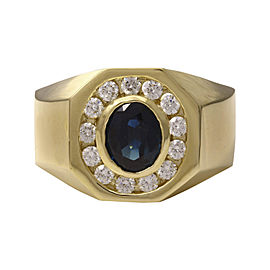 14K Yellow Gold with 1.50ct Blue Sapphire with 0.85ct Diamond Ring Size 10.5