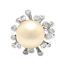 14K White Gold with South Sea Pearl and 0.80ct Diamond Ring Size 6