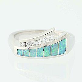 Kabana 14K White Gold Opal, Diamond Ring Size 5