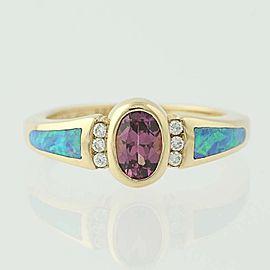 Kabana 14K Yellow Gold Rhodolite Garnet, Opal, Diamond Ring Size 5
