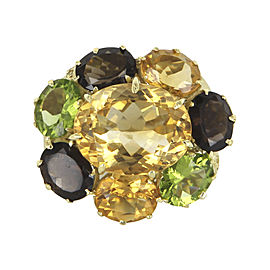 Vintage 18K Yellow Gold with Citrine, Peridot and Smoky Quartz Ring Size 7