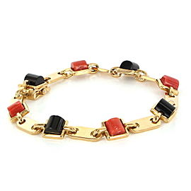Cartier 18K Yellow Gold with Onyx & Coral Link Vintage Bracelet