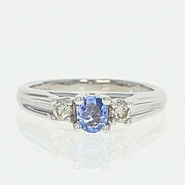 14K White Gold Tanzanite 0.10ctw Diamond Engagement Ring Size 5