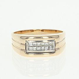 14K White Gold, 14K Yellow Gold Diamond Ring Size 11