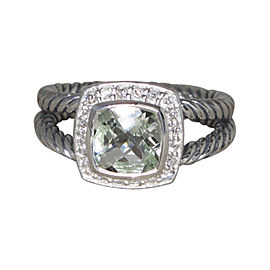 David Yurman Petite Albion 925 Sterling Silver with Prasiolite and Diamond Ring Size 7