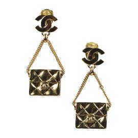 Chanel 'CC' 02P Gold Tone Hardware Flap Bag Drop Dangle Earrings