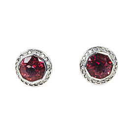 "John Hardy ""Batu Sari"" 925 Sterling Silver & 18K White Gold with Pink Topaz Stud Earrings"