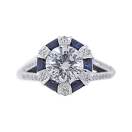 Tacori 18K White Gold 1.69ct Diamond 0.66ct Sapphire Ring Size 8
