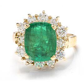 14K Yellow Gold 3.20ct Emerald & 1.30ct Diamond Ring Size 6