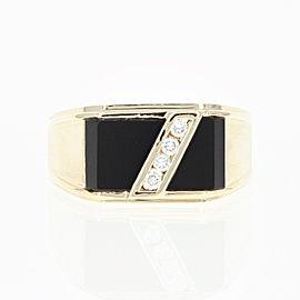 10K Yellow Gold Onyx, Diamond Ring Size 10