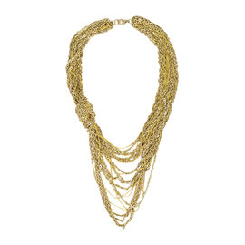 Chanel Gold Tone Hardware & Nylon Chain Link Multi Strand Knotted Necklace