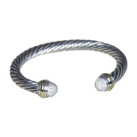 David Yurman Cable Classic 925 Sterling Silver and 18K Yellow Gold with Diamond Bracelet