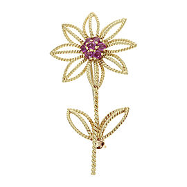 Tiffany & Co. 18K Yellow Gold with 0.63ctw Ruby Flower Brooch