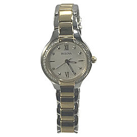 Bulova 98R221 Stainless Steel Crystals White Dial 28mm Womens Watch