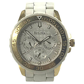 Bulova 98N102 Stainless Steel White Rubber Bracelet Silver Dial 40mm Womens Watch