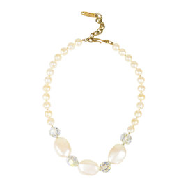 Yves Saint Laurent Gold Tone Hardware with Cream Iridescent Faux Pearl Beaded Necklace