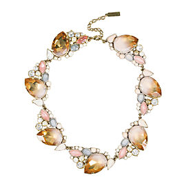 Nina Ricci Gold Tone Hardware with Pink Crystal Embellished Necklace