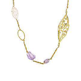 Alexis Bittar Gold Tone Hardware with Lavender Green Glass, Quartz & Crystal Necklace