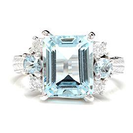 14K White Gold with 4.50ct Aquamarine & 0.30ct Diamond Ring Size 7