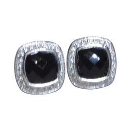 David Yurman Petite Albion Sterling Silver Onyx Diamond Earrings