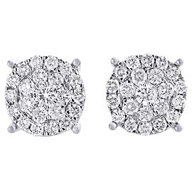 10K White Gold with 2.00ct Diamond Cluster Studs Earrings