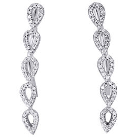 10K White Gold with 0.25ct Round Diamond Tear Drop Climber Earrings