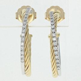 David Yurman 18K Yellow Gold 0.50ct Diamond Crossover Hoop Earrings