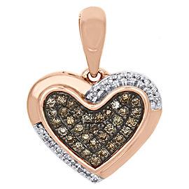 10K Rose Gold 0.15ct of White & Brown Diamond Double Frame Heart Pendant