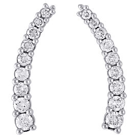10K White Gold 1ct Diamond Prong Set Ear Climbers Earrings
