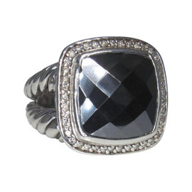 David Yurman Albion Sterling Silver Hematine Diamond Ring Size 6