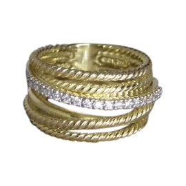 David Yurman 18K Yellow Gold .23 ctw Pave Diamond Crossover Ring Size 8