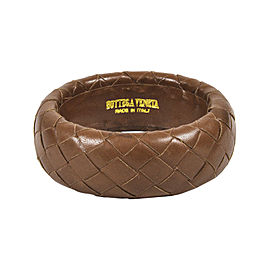 """Bottega Veneta """"Intrecciato"""" Brown Leather Bangle Bracelet"""