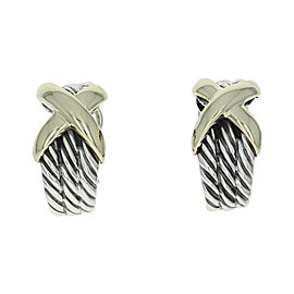 David Yurman Sterling Silver & 14K Yellow Gold X Cable J-Hoop Earrings