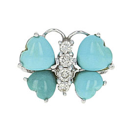 Le Vian 14K White Gold with Turquoise & 0.18ct Diamond Butterfly Ring Size 7