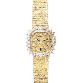 Rolex 14k Yellow Gold Diamond Bezel Vintage Cocktail Ladies Watch