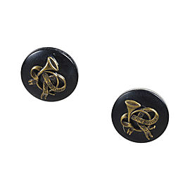 Hermes Gold Tone Hardware & Black Resin Clip On Earrings