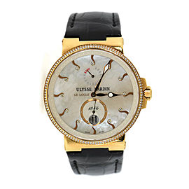 Ulysse Nardin Maxi Marine 266-66 18K Rose Gold & Leather with Diamond Automatic 41mm Unisex Watch