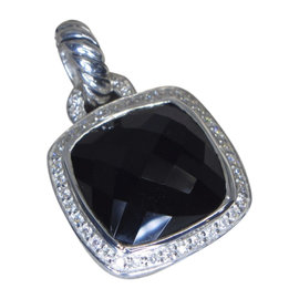 David Yurman Albion 925 Sterling Silver Onyx & 0.32ct Diamond Pendant