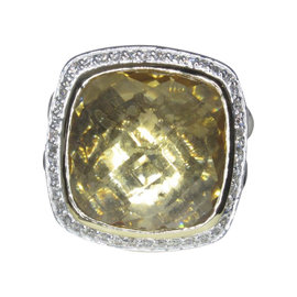 David Yurman Albion 18K Yellow Gold & Sterling Silver with Champagne Citrine & Diamond Ring Size 7