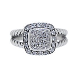 David Yurman Petite Albion 925 Sterling Silver with 0.30ct Round Diamond Ring Size 5.5