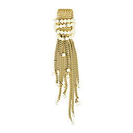 Chanel Cruise Gold Tone Hardware Simulated Glass Pearl & Crystal Curb Chain Brooch