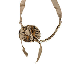 Lanvin Textile and Faux Pearl Floral Ribbon Tie Pendant Necklace