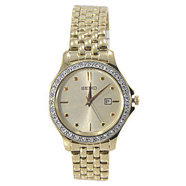 Seiko SXDF92 Gold Tone Stainless Steel & Gold Dial 30mm Womens Watch